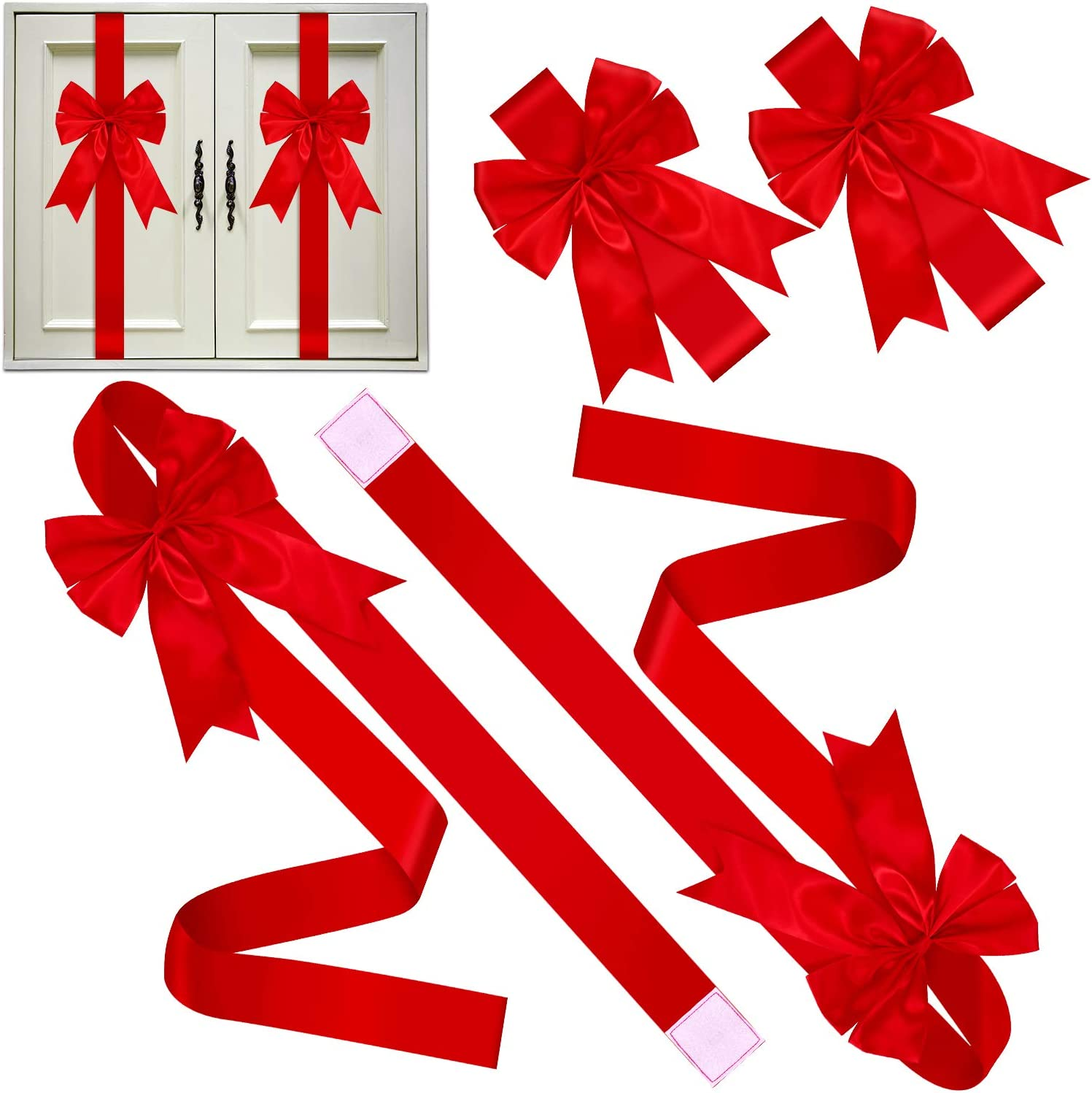 6 Pieces Christmas Cabinet Festive Ribbons Christmas Door Ribbon and Bows for Christmas Party Decorations (Red)