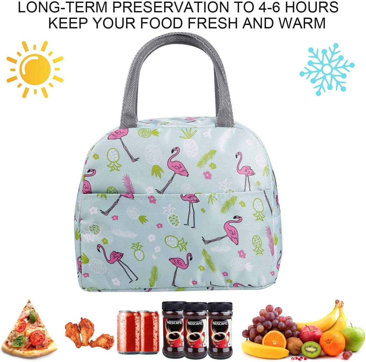 Lunch Bags for Women Insulated Lunch Bag Adult Lunch Bags Women Lunch Box Jeopace Black White Strip, Small