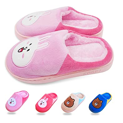 24d94d5c8f8 Namektch Cute Animal House Slippers Bear Bunny Fuzzy Family Indoor Warm  Shoes Anti-Skid Sole