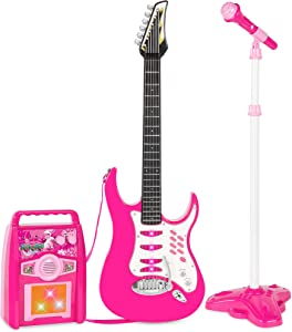 Best Choice Products Kids Electric Guitar Play Set w/ Whammy Bar, Microphone, Amp, AUX, Pink