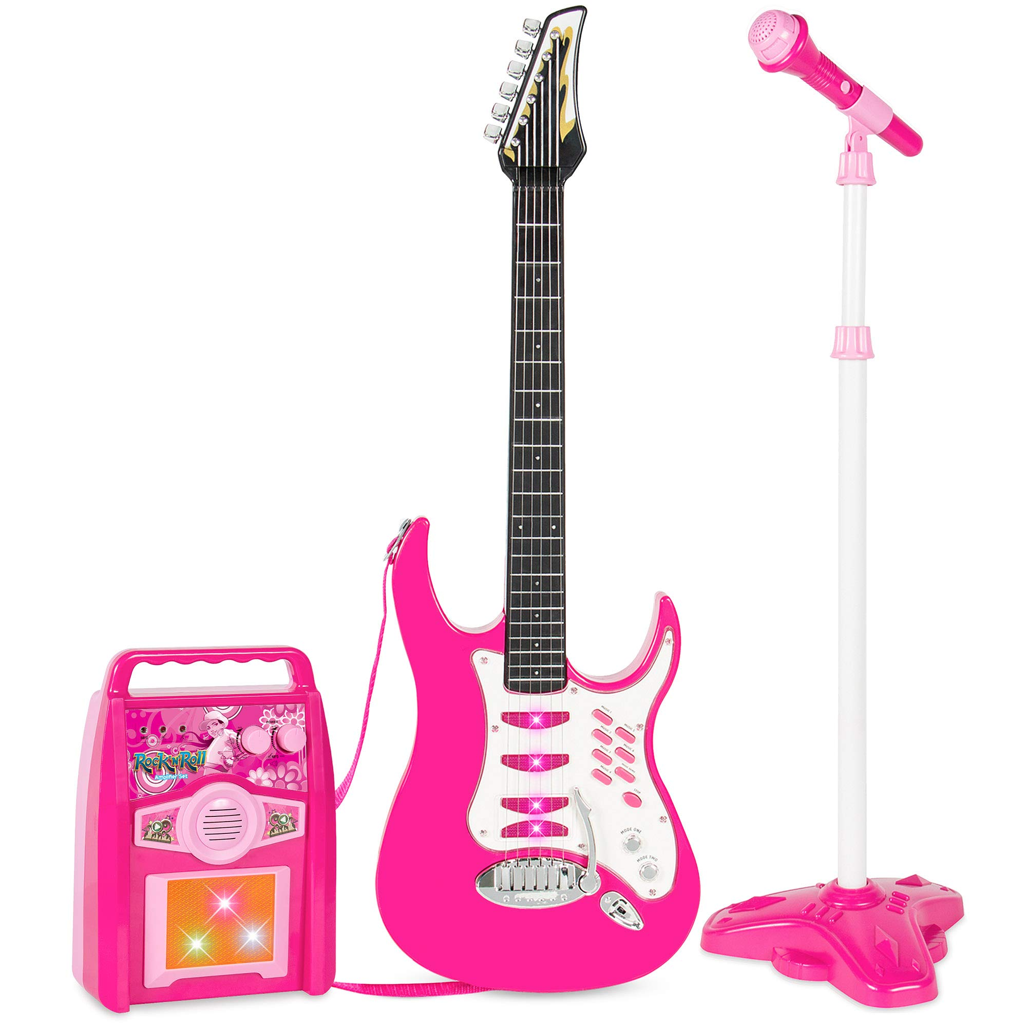 Best Choice Products Kids Electric Musical Guitar Toy Play Set w/ 6 Demo Songs, Whammy Bar, Microphone, Amp, AUX - Pink by Best Choice Products