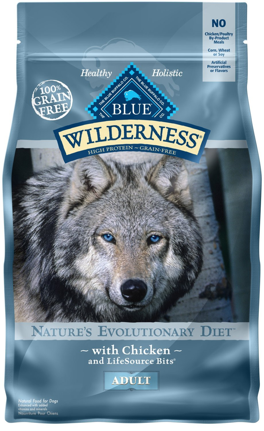 2.Blue Buffalo Wilderness High Protein Grain-Free Natural Adult Dry Dog Food
