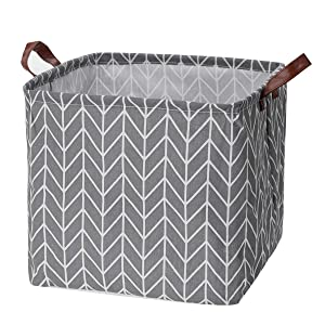 Storage Basket, Large Size Basket Storage - Waterproof and Folding Canvas Fabric Kids Laundry Basket (Gray)