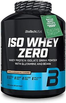 BioTechUSA Iso Whey ZERO, Lactose, Gluten, Sugar FREE, Whey Protein Isolate, 2.27 kg, Vainilla-rollo de canela