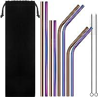 SENHAI Conjunto de 8 Pajitas de acero inoxidable, 6 mm Pajita de metal (4 rectas y 4 curvado) para 20 30 oz Vaso de RTIC...
