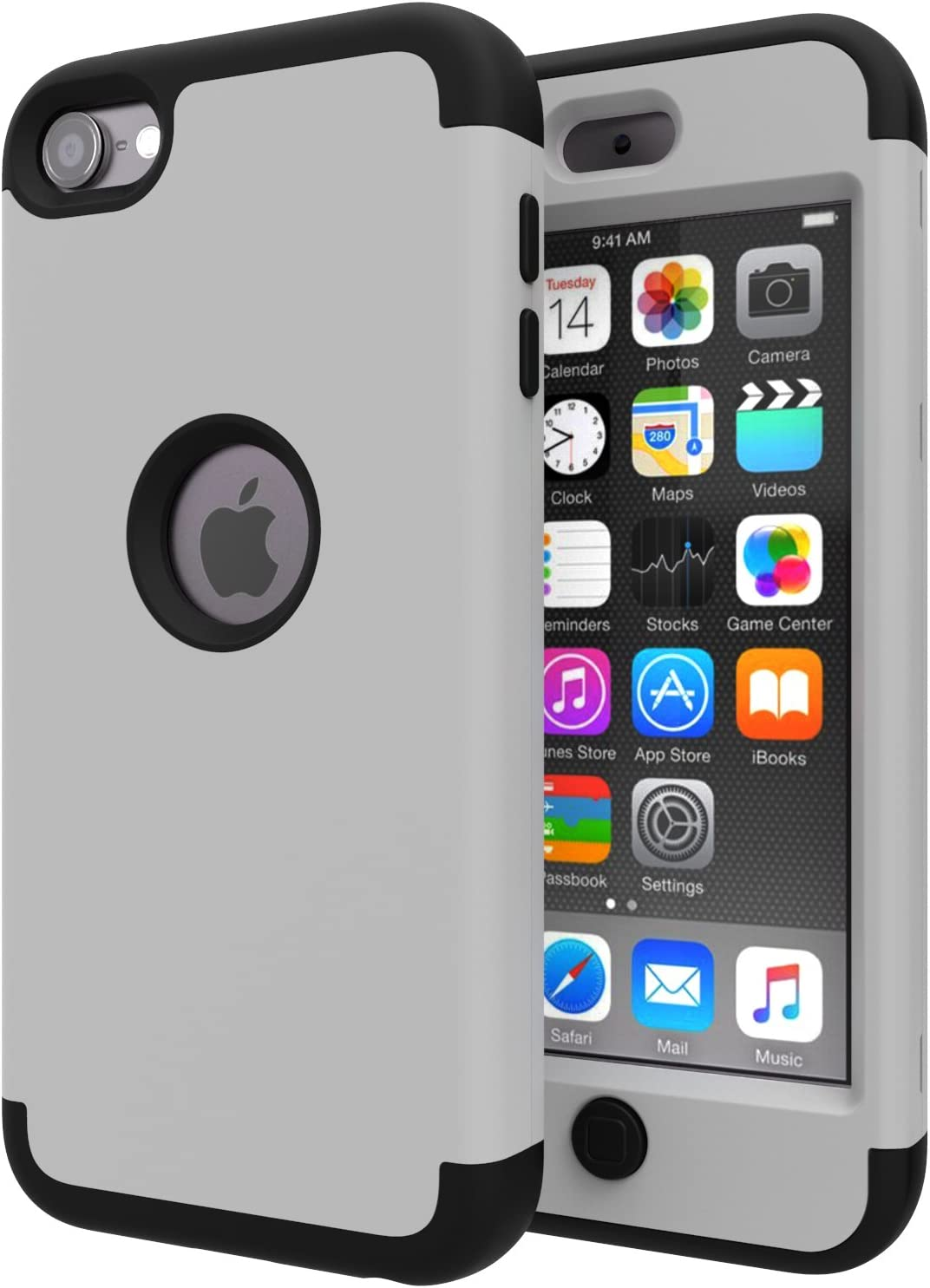 iPod Touch 7 Case,iPod Touch 6 Case,SLMY(TM)Heavy Duty High Impact Armor Case Cover Protective Case for Apple iPod touch 5/6/7th Generation Gray/Black