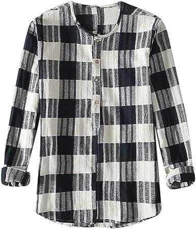 Mr.Macy Men/'s Long Sleeve Lattice Plaid Size Casual Tops Blouse Plaid Shirts