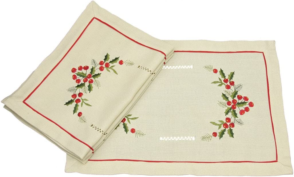 Xia Home Fashions 4-Pack Holly Berry Embroidered Hemstitch Christmas Placemats, 14 by 20-Inch, Ecru