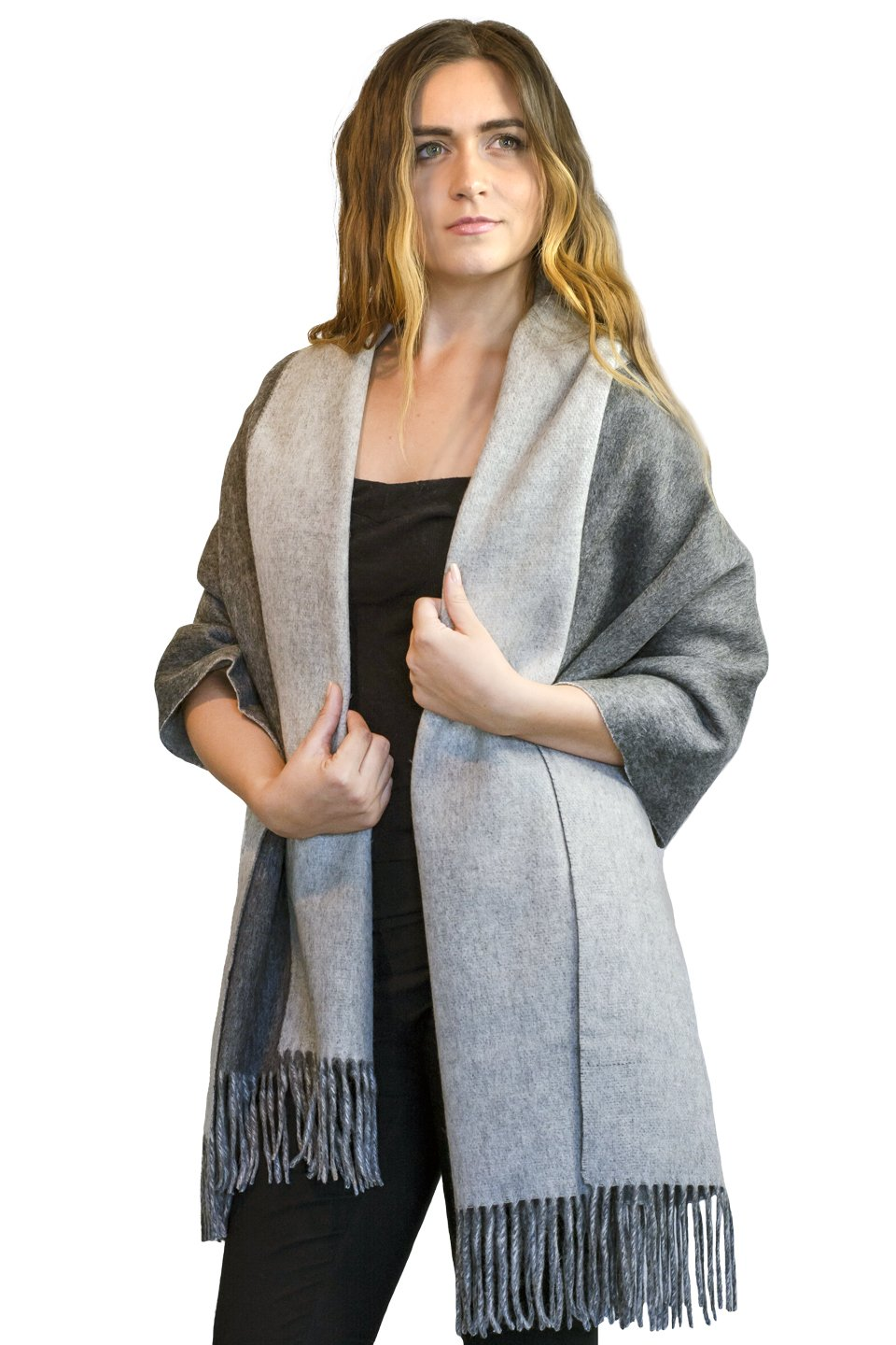 Large Winter Pure Cashmere Shawl 100% Cashmere - Soft and solid Wrap (Grey)