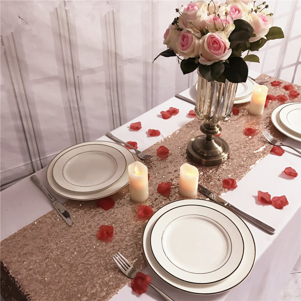 TRLYC 10pcs set 12x72 Inches Rose Gold Sequin Table Runners Wedding Banquet Party Decoration by TRLYC (Image #2)