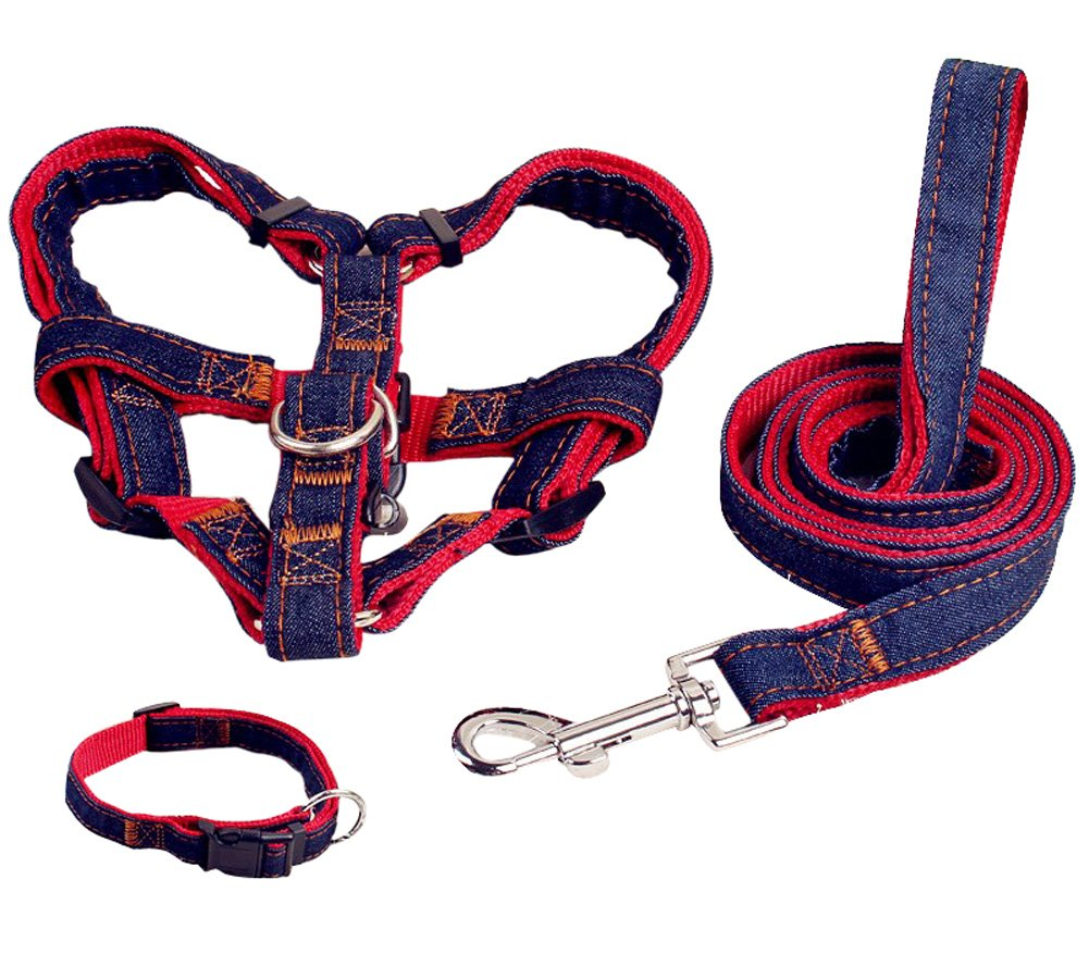 Red M Red M Pet Easy Walk Harness No-Pull Dog Leash Basic Halter Harnesses Pet Chest Strap (M, Red)