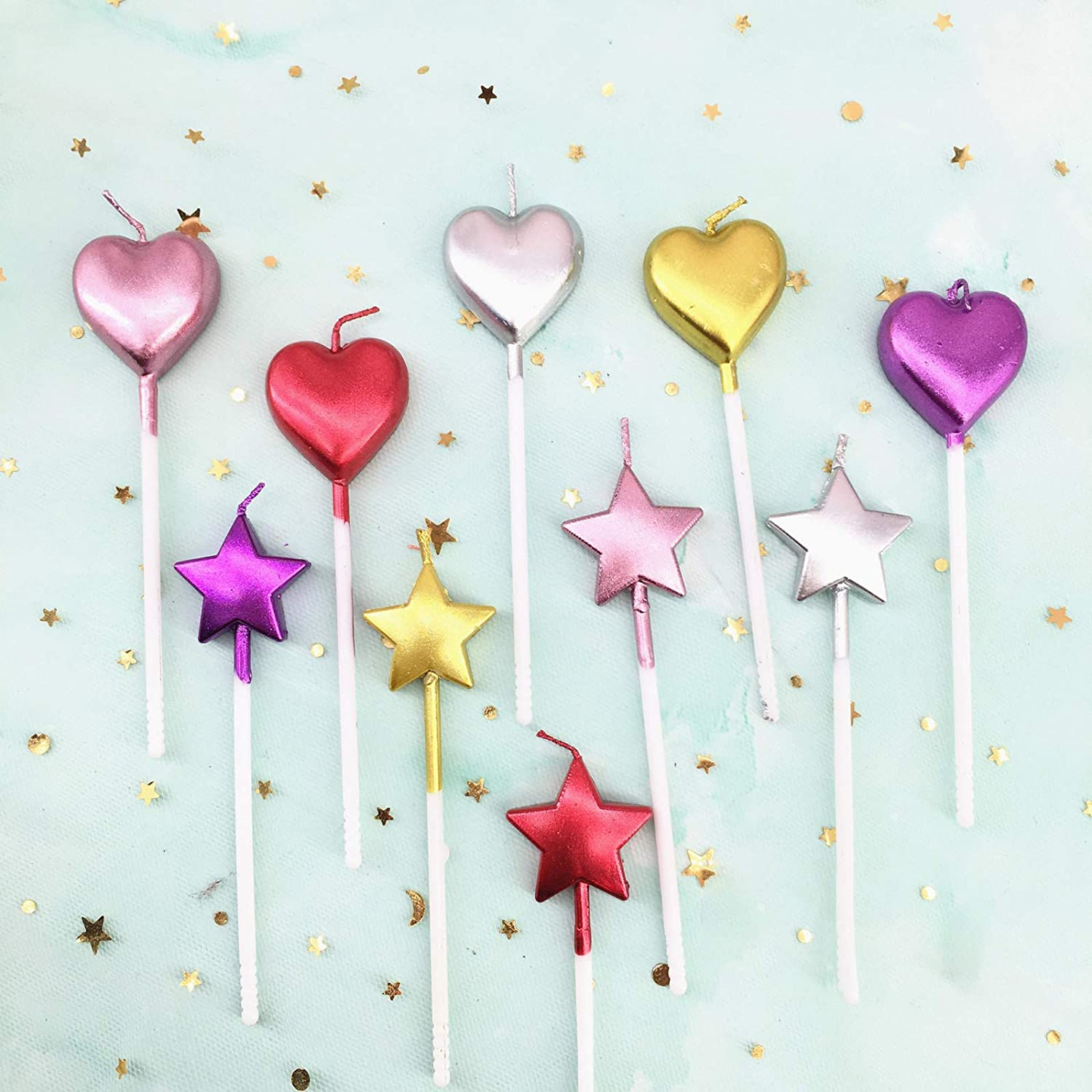 I Love You Theme Golden SOARSWAN Heart Shape Birthday Candle Set Party Decoration for Cake and Cupcake