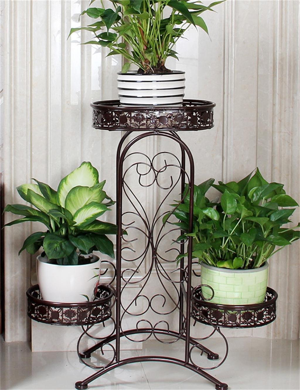 European-style schmiedeeisernen Boden Flower Pot Regal für Balkon, Interior, Wohnzimmer ( farbe : Bronze )