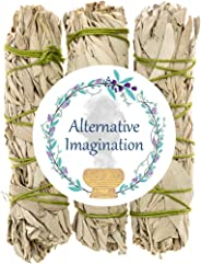 Premium California White Sage 4 Inch Smudge Sticks - 3 Pack. Use for Home Cleansing, and Fragrance, Meditation, Smudging Ritu