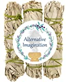 Premium California White Sage 4 Inch Smudge Sticks - 3 Pack, Alternative Imagination Brand