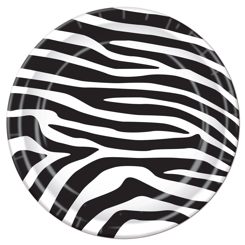amazon com zebra print plates 8 pkg kitchen u0026 dining