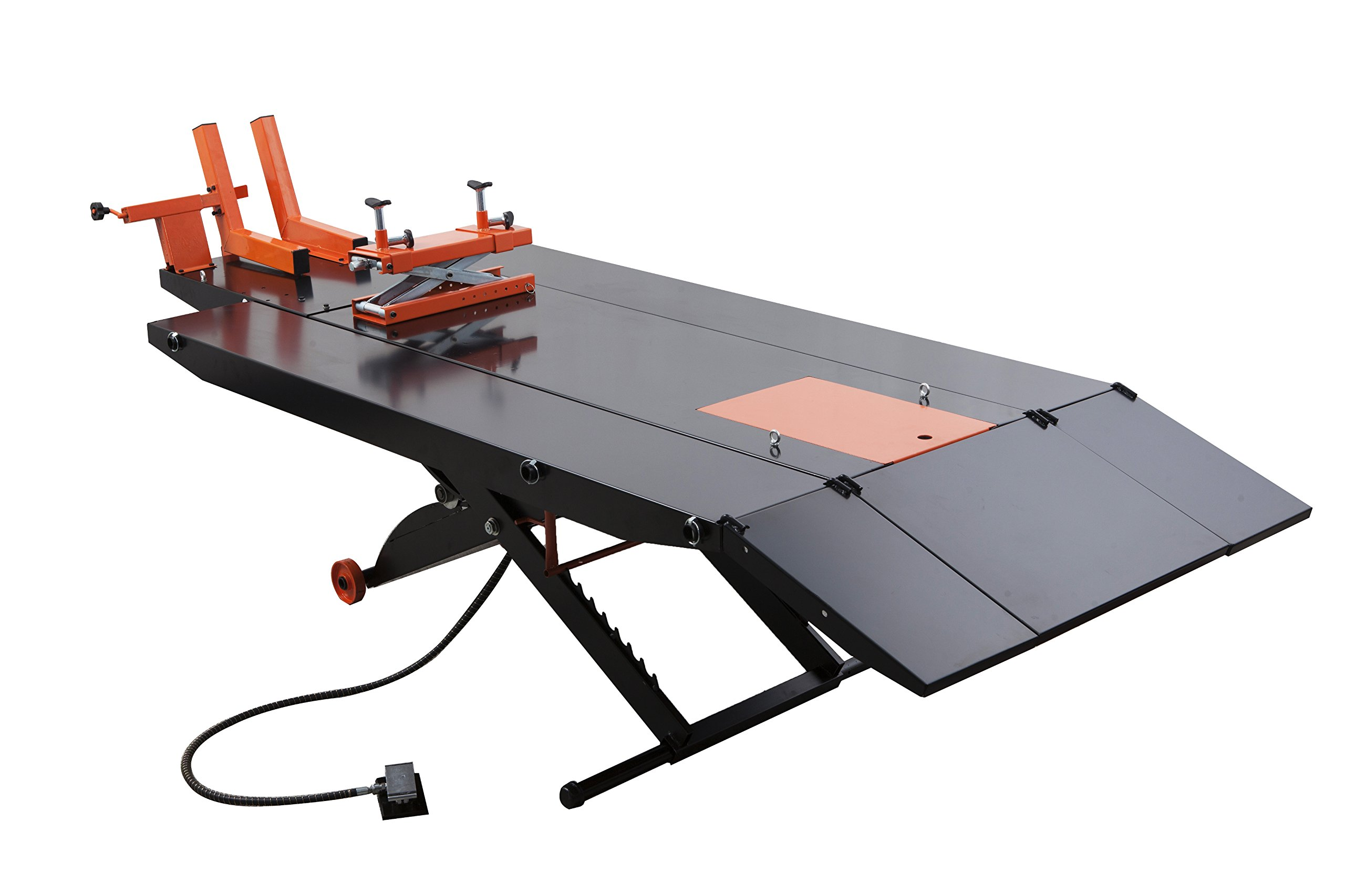 APlusLift 1500LB Air Operated 48'' Width ATV Motorcycle Lift Table with Side Extensions (Free Service Jack, Free Home Delivery)
