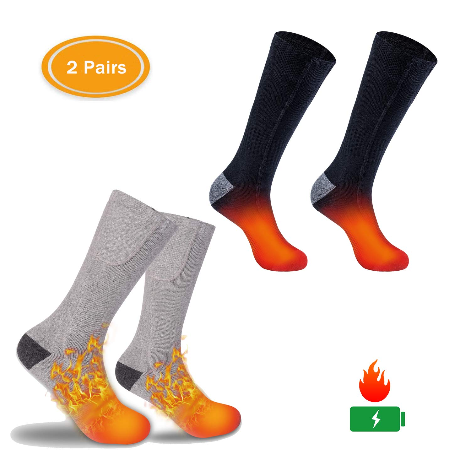 ZLTFashion Electric Heated Socks, Cordless Portable Rechargeable Infrared Heating Cold Weather Thermal Socks Sport Outdoor Camping Hiking Warm Winter Sox for Men Women (Black&Gray) by ZLTFashion