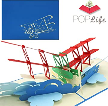 Amazon.com: Poplife Pop Up de avión biplano tarjeta de ...