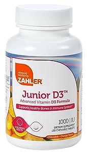 Zahler Junior D3 Chewable 1000IU, Kids Vitamin D, Great Tasting Chewable Vitamin D for Kids, Optimal Vitamin D3 1000 IU for Children,Certified Kosher, 240 Chewable Tablets
