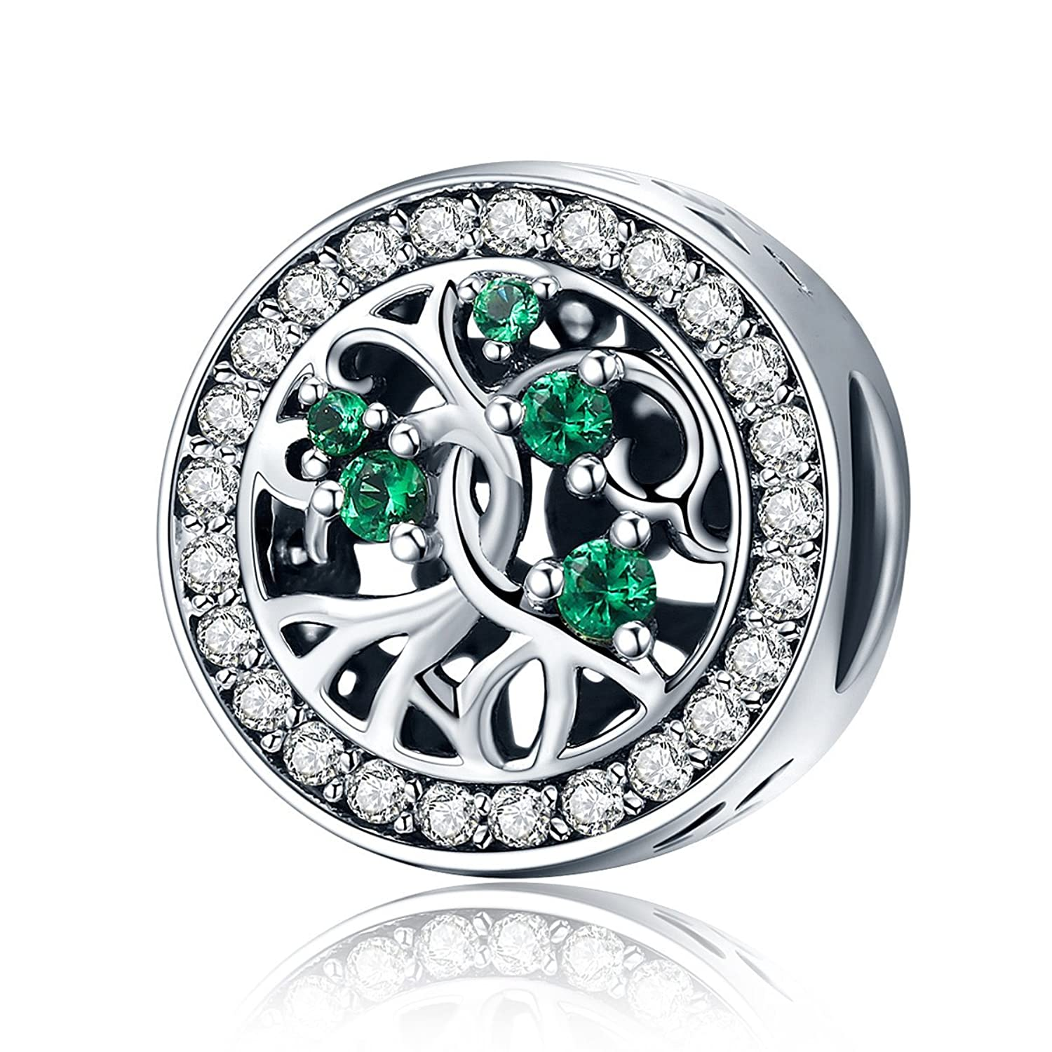 Charm for Women, 925 Sterling Silver Tree Bead Charm with Green CZ fit Pandora Charm Bracelet BJ09006