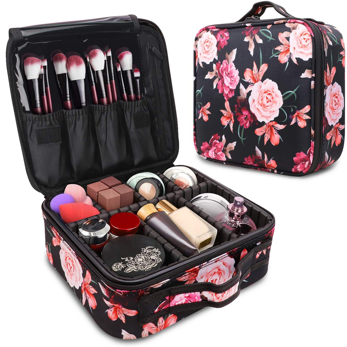 WAVEYU Makeup Case Bag Organizer,Travel Cases Cosmetic Flower Bag for Women Portable Toiletry Train Case with Adjustable Dividers Travel Accessories for Make Up Brushes Toiletry Jewelry, Black by WAVEYU