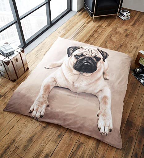 Throw Blanket Faux Fur 3D Pug Print Mink Sofa Bed Soft Fleece King 200x240
