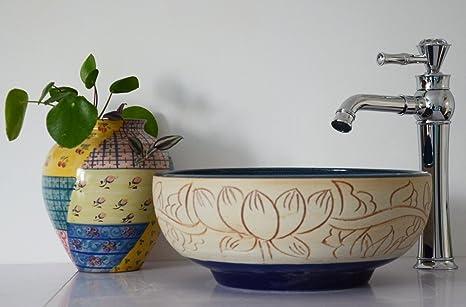 Stile vintage floreale lavabo in ceramica contatore lavabo lavello