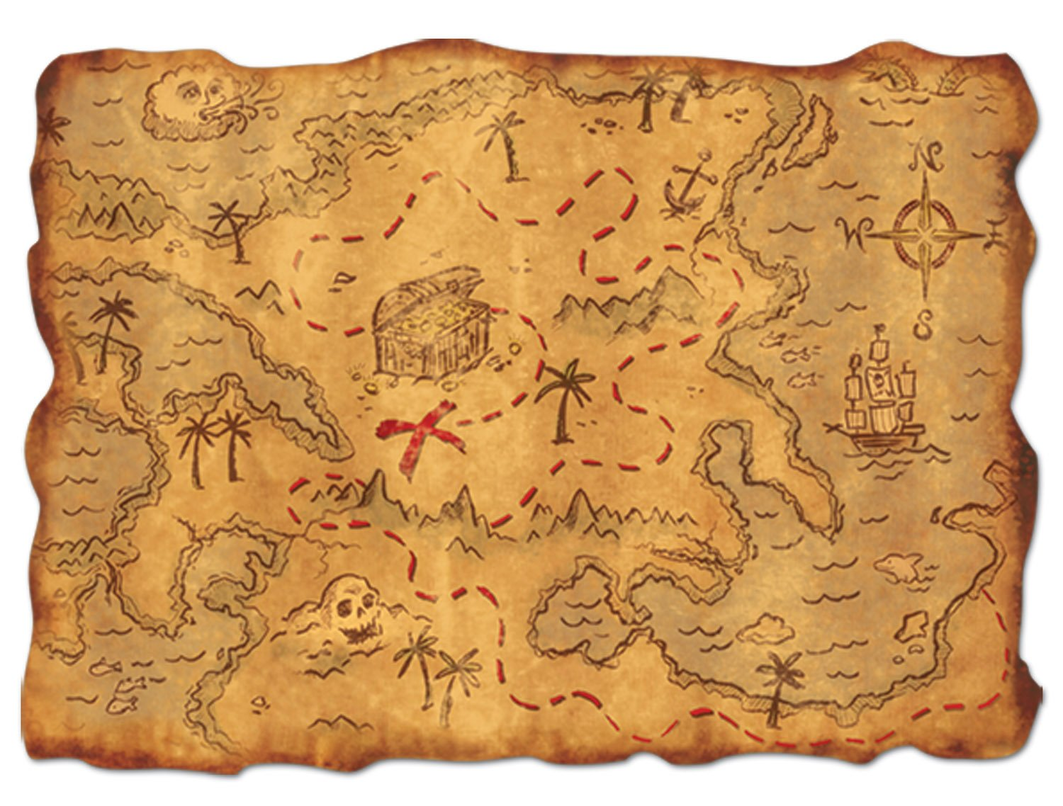 - Pirate Treasure Map Plastic Kids Pirate Themed Party Decoration
