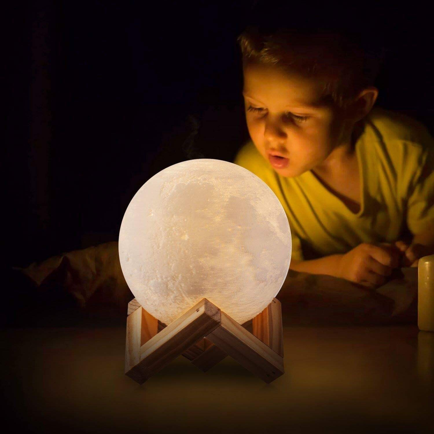 Moon Light - 3D Printing Moon - Stepless Dimmable - Moon Lamp Shade - Warm and White Touch Control Brightness with USB Charging - Moon Decor - Lunar Night Light with Wooden Mount - Moon Gifts 3.9 Inch
