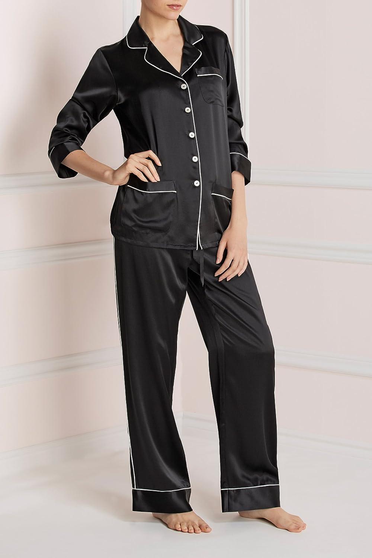 8345fa874b Olivia Von Halle Women Coco Silk Pyjama Jet Black at Amazon Women s  Clothing store
