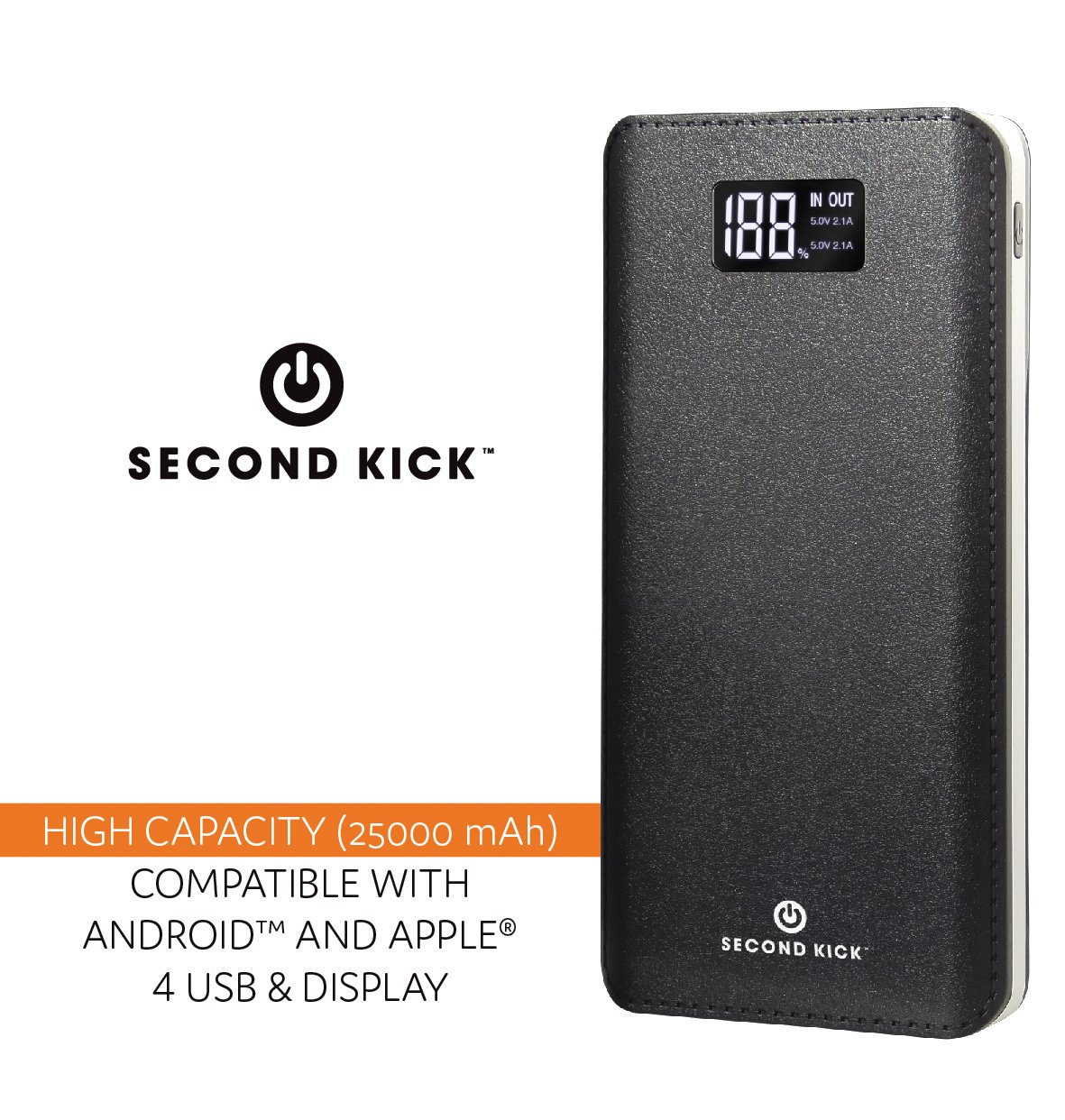 Portable Charger Ultra High Capacity Big 25000mAh Power Bank by Second Kick. 4 USB Ports Type C, Led Light & Led Display Screen. Big Power Battery Pack Compatible w iPhone, iPad, Samsung Android sm by Second Kick