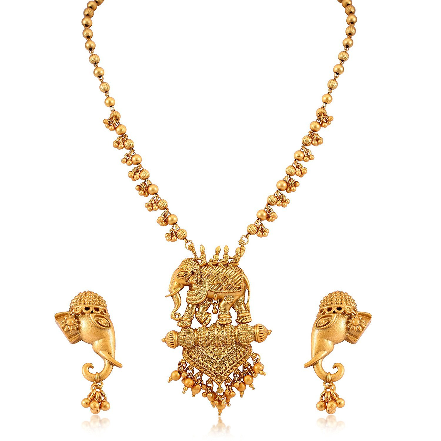 Buy Efulgenz Fashion Jewellery Antique Kundan Gold Plated Temple Traditional Designer Long Necklace Jewellery Set With Earrings For Women At Amazon In