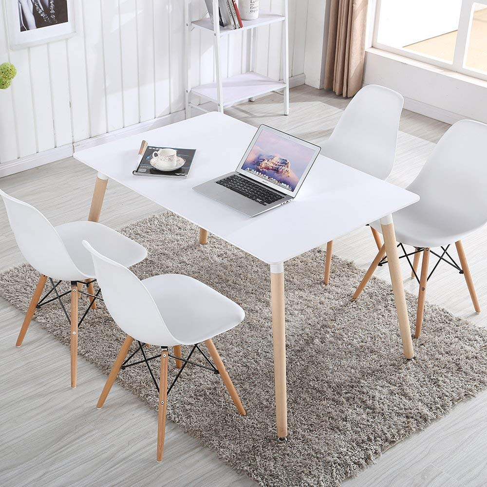 Scandinavian Dining Table with Wood Legs Kitchen Matte White MDF Table Top Retro Style 4 Family Meals Table Dining Kitchen Room Best Pal Modern Rectangular,White