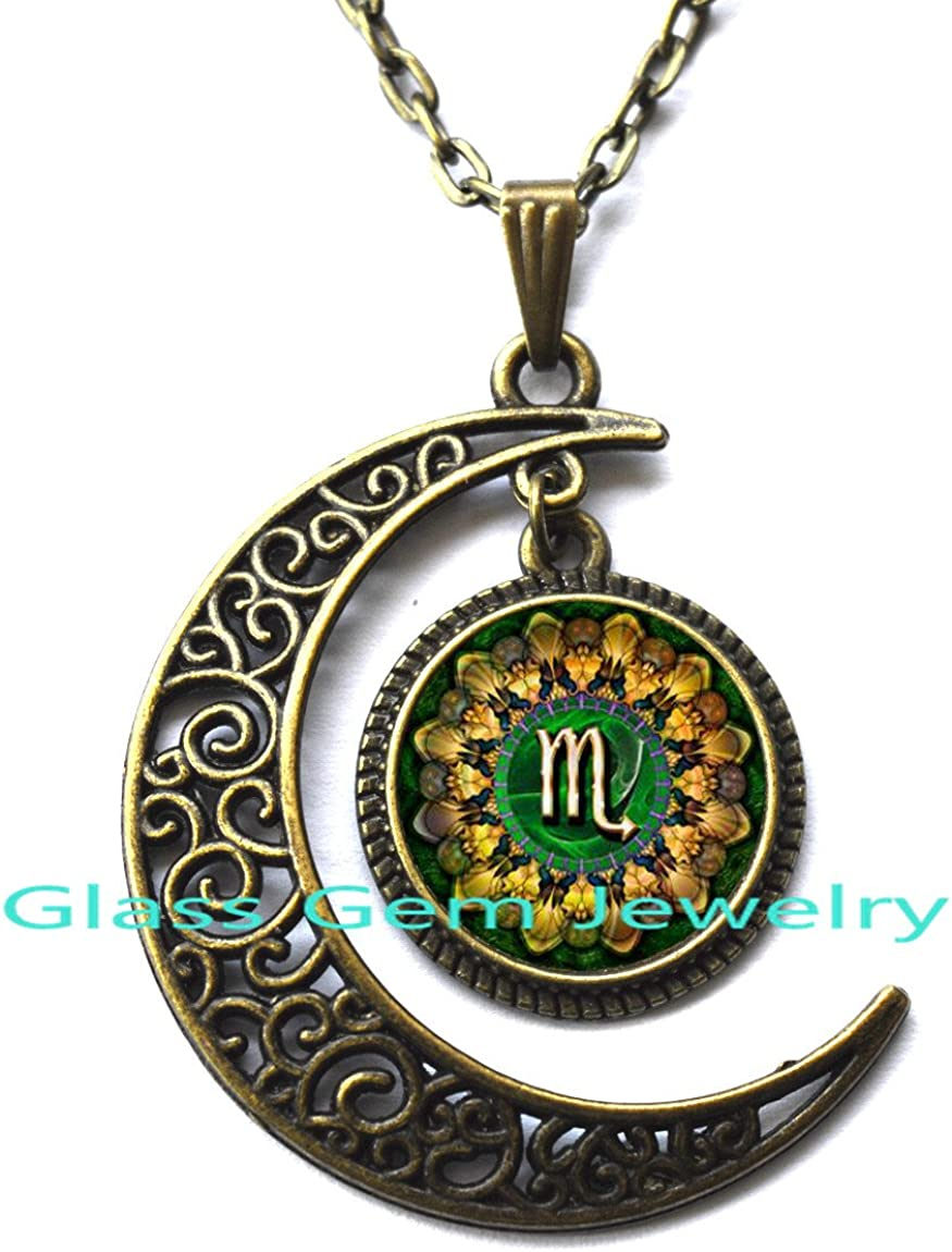astrology jewelry Scorpio zodiac necklace with moon pendant in gold or silver Scorpio birthday gift