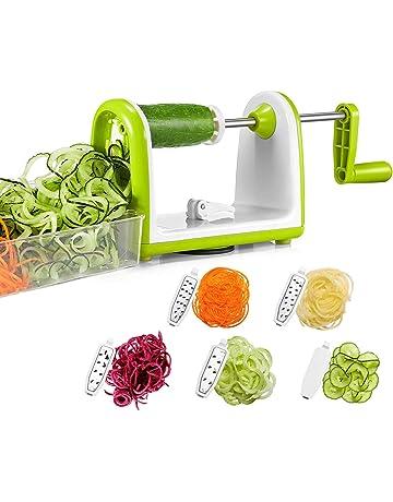 Bonsenkitchen Cortador de Verduras en Espiral, Espiralizador de Verduras, Vegetable Spiralizer Slicer, 5