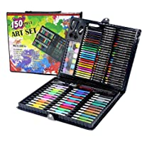 PATPAT® 150 Piece Portable Art Supplies Set for Teens Kids Drawing, Painting, Crayons, Color Pencils, with Plastic Case
