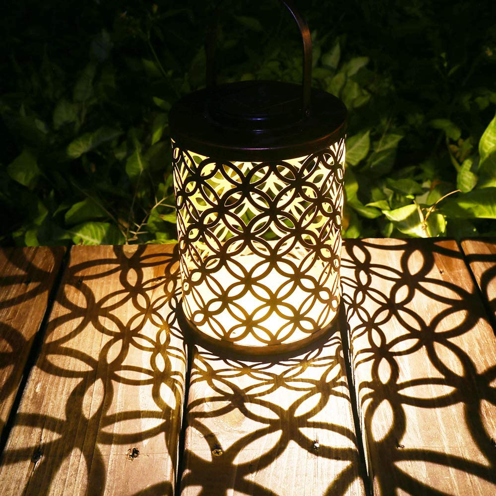 Solar Lanterns Outdoor Solar Hanging Lantern Garden Decorative Table Lights Metal Retro Solar Light for Yard Patio Garden Lawn (Bronze)