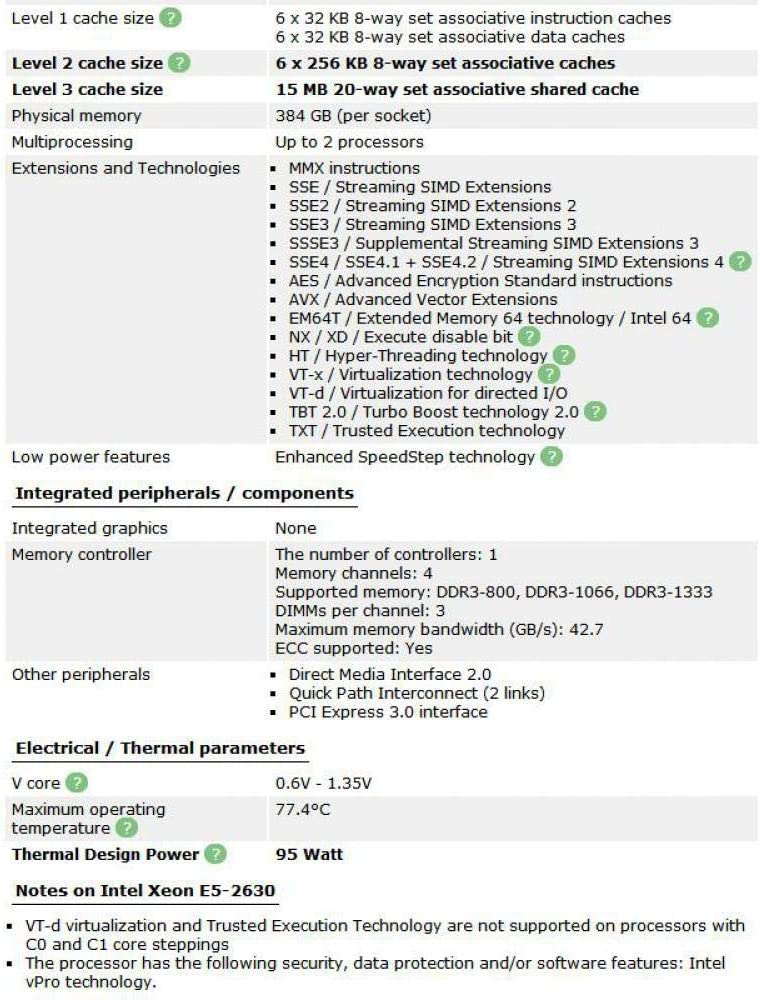 Intel Xeon E5 2630 Processor 2.3GHz 15M Cache LGA 2011 95W SR0KV E5-2630 Server CPU Tested 100/% Working