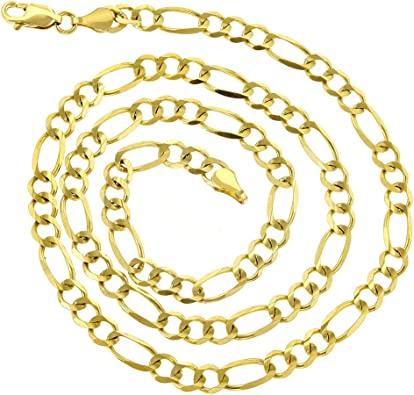 10k Yellow Gold 3.0mm Concave Figaro Chain Necklace Lobster Clasp