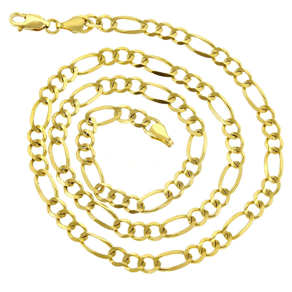 Luxurman 10K 8'' Yellow Solid Gold 5mm Diamond Cut Figaro Chain Link Bracelet with Lobster Clasp by Luxurman (Image #2)