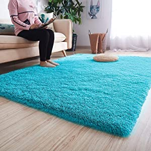 Noahas Ultra Soft Shaggy Area Rugs Fluffy Living Room Carpet Bedroom Fur Rug Anti-Skid Child Playing Mat Home Decor, 5.3 x 7.5 Feets Blue