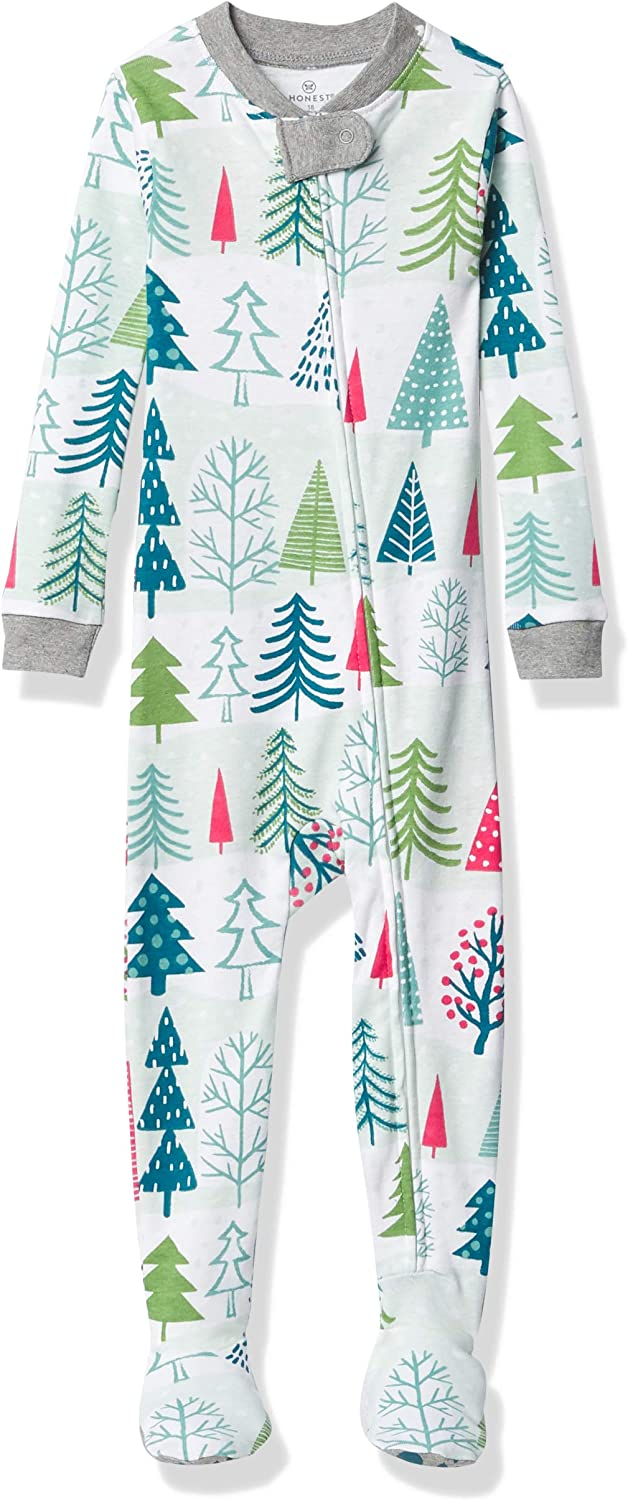 18 Months Snowy Trees HonestBaby Baby Organic Cotton Snug-Fit Footed Pajamas
