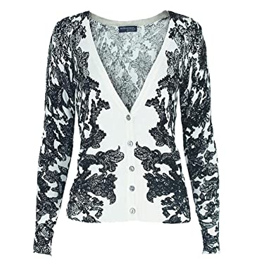 a117a07fec Image Unavailable. Image not available for. Color  Women s Petite black-white  flower printing V-neck short cardigan sweater
