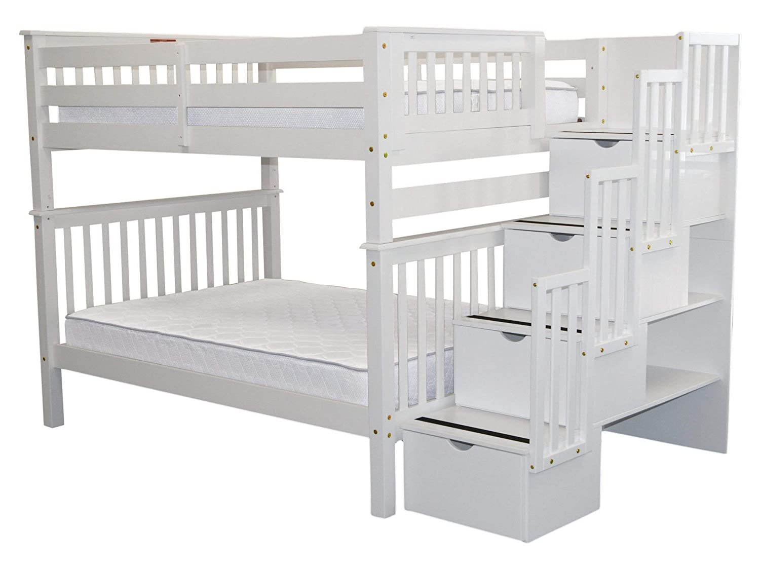 Gray Bedz King Stairway Bunk Beds Full Over Full With 4 Drawers In The Steps Kids Furniture Toys Games Malibukohsamui Com