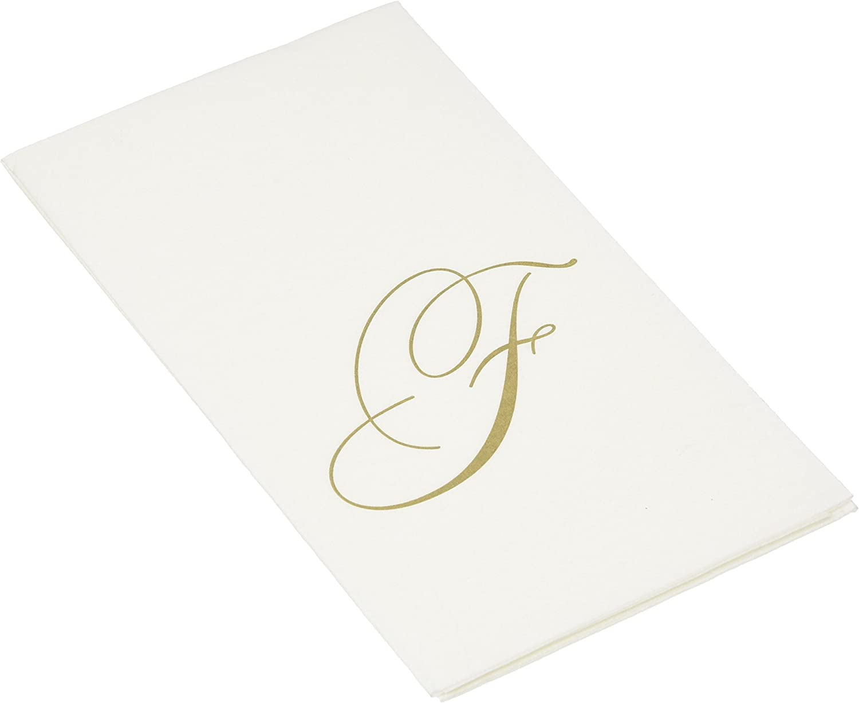 Caspari F, White Pearl Paper Linen Guest Towels, Monogram Initial, Pack of 24