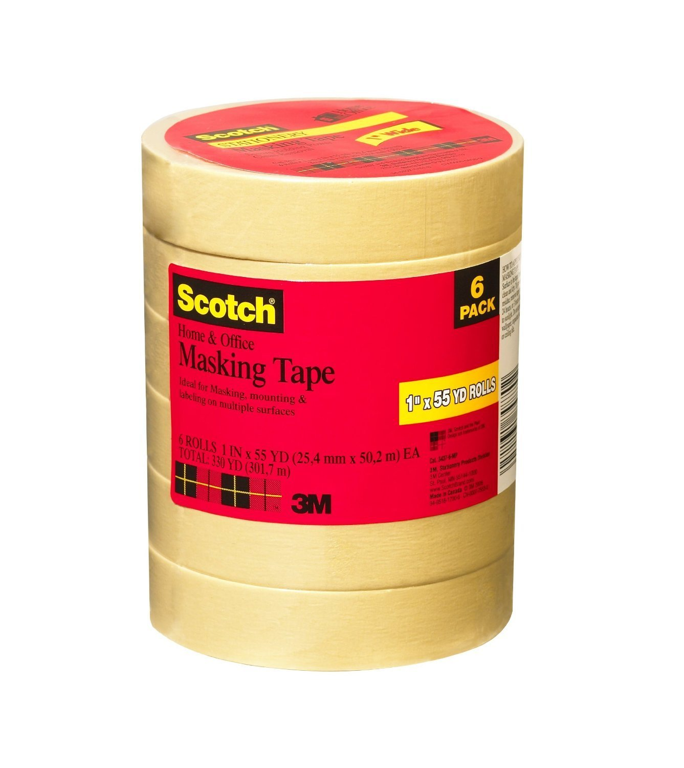 Scotch Home and Office Masking Tape, 1-Inch x 55 Yards, 6 Rolls (3437-6-MP)(2Pack) by Scotch