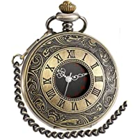 Vintage Pocket Watch Roman Numerals Scale Quartz Mens Womens Watch with Chain Christmas Graduation Birthday Gifts Fathers Day