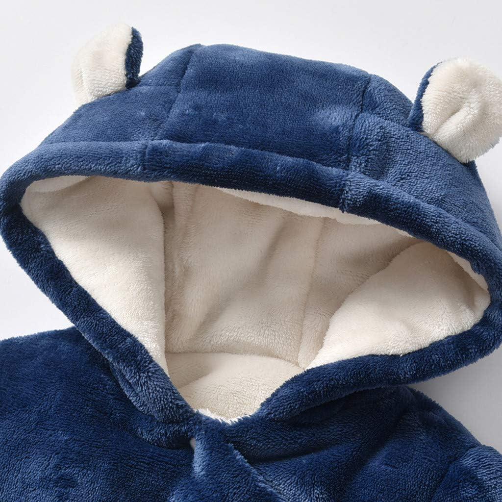 Newborn Infant Bear Romper Baby Girl Boy Solid Thicken Snowsuit Onesie Wrap Jumpsuit Playsuit Outfits