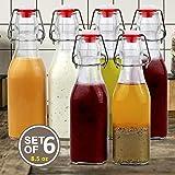 Estilo EST4334 Easy Cap Swingtop Glass Bottles, Square, 8.5 oz, Set of 6-Clear